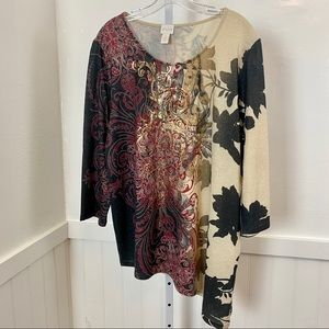 Chico's Women's Plus Size Multicolor Tunic | 3X